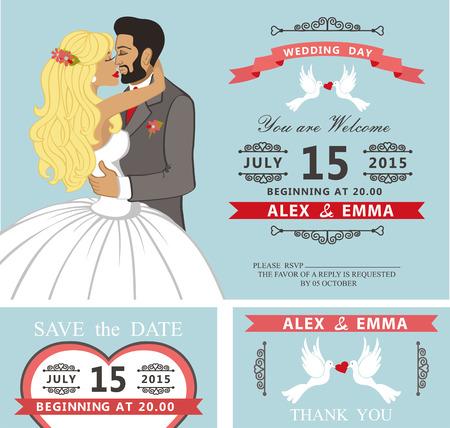 bride veil: Wedding invitation set.Kissing Cartoon bride and groom Illustration