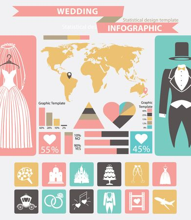 event planning: Wedding infographic set.Wedding wear,world map