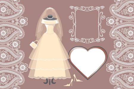 bridal dress: Wedding bridal dress with frame,label,paisley border