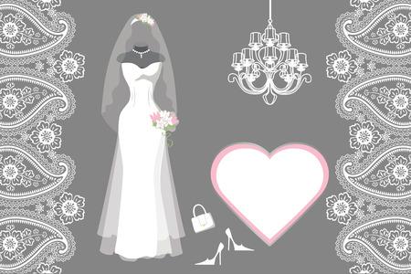 Bruiloft bruids jurk met frame, etiket, Paisley grens Stock Illustratie