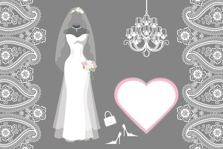 Wedding bridal dress with frame,label,paisley border