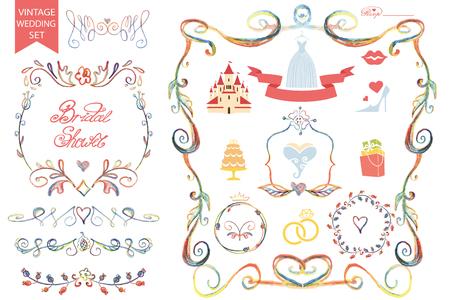 Vintage wedding Floral doodle Decor,icons set.Bride Vector