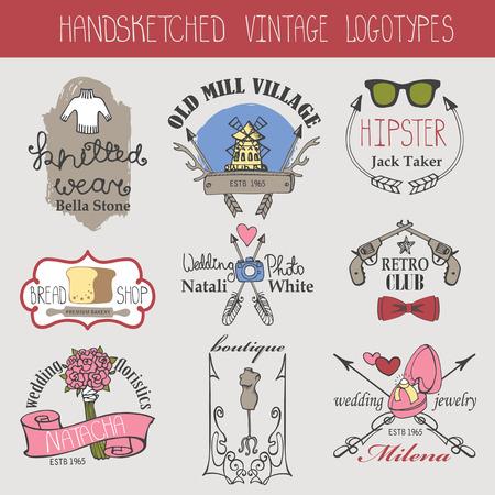 logotypes: Vintage logotypes set.Doodle hand sketched