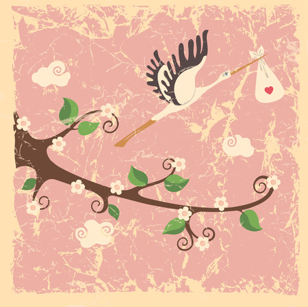 baby girl: Vintage cartoon flowering branch, stork ,newborn baby girl