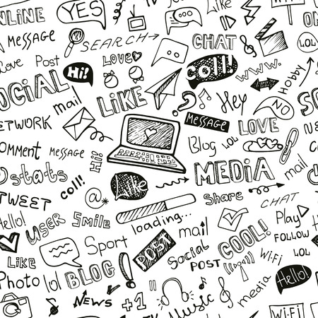 network and media: Social Media Word,Icon seamless pattern.Doodle sketchy
