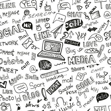 interaccion social: Social Media Word, Icono pattern.Doodle fisuras incompleta