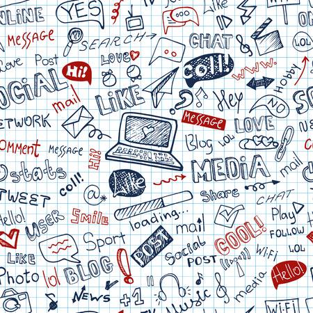 Social Media Word, icoon naadloze pattern.Doodle schetsmatig Notepaper