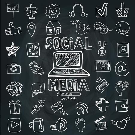 interaccion social: Social Media Palabra y la pizarra incompleta Icono set.doodle Vectores