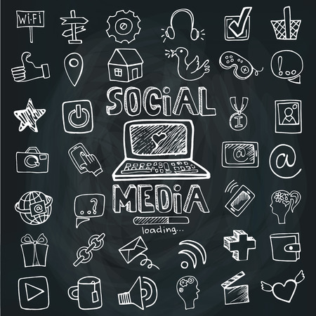 Social Media Word and Icon set.Doodle sketchy Chalkboard
