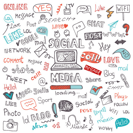 Social Media Word and Icon Cloud.Doodle sketchy Illustration