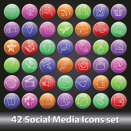 Social Media Icons set.Round volume button Vector