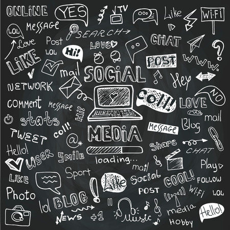 Social Media Word and Icon Cloud.Doodle sketchy Chalkboard Vector
