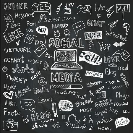 Social Media Word en Icon Cloud.Doodle schetsmatig Schoolbord