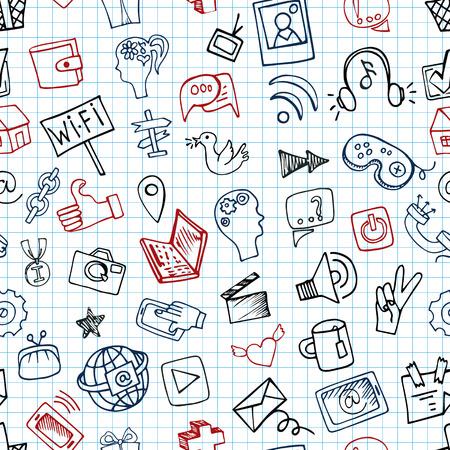 notepaper: Social Media Icon seamless pattern.Doodle sketchy Notepaper Illustration