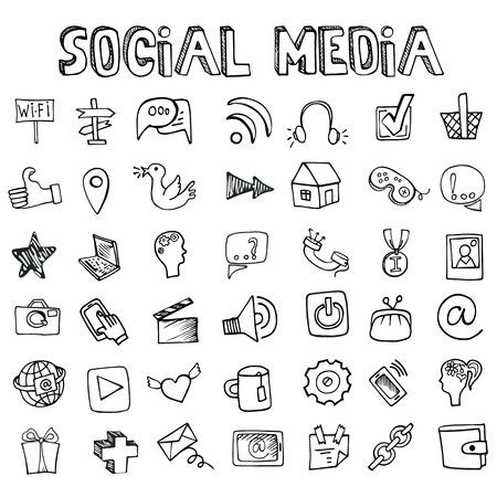 Social Media Icons set.Doodle sketchy elements Vettoriali