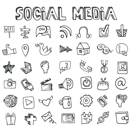 Social Media Icons set.Doodle sketchy elements Stock Illustratie