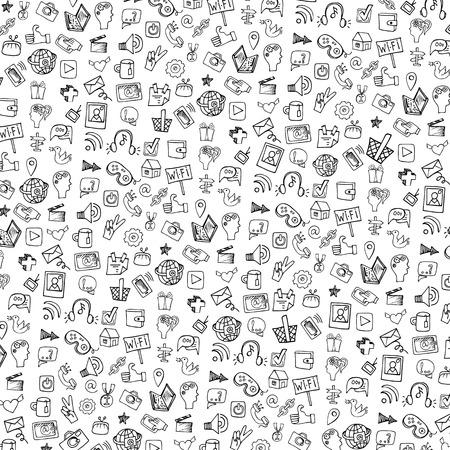 소셜 미디어 아이콘 패턴, background.Doodle 스케치 된 notepaper 일러스트
