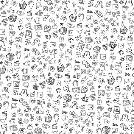 Social Media Icon pattern,background.Doodle sketchy Notepaper