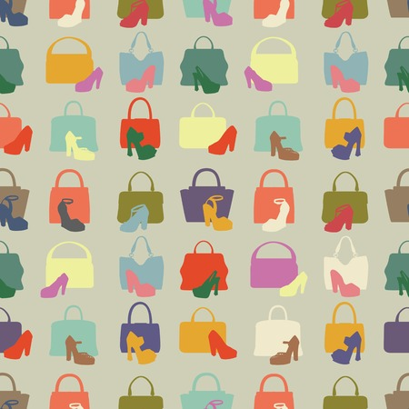 Silhouettes of handbag,shoes.Seamless pattern Vector