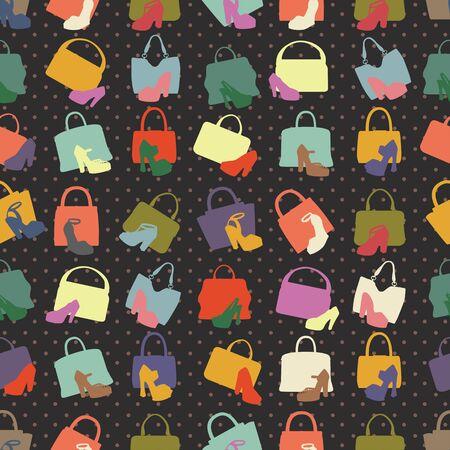 Silhouettes of handbag,shoes. Seamless pattern