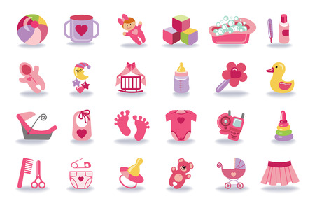 Newborn Baby girl icons set.Baby shower kit Vector