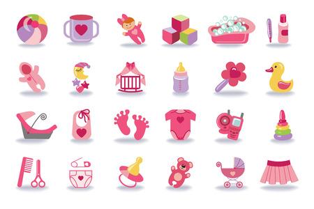 Pasgeboren baby meisje pictogrammen set.Baby douche kit Stock Illustratie