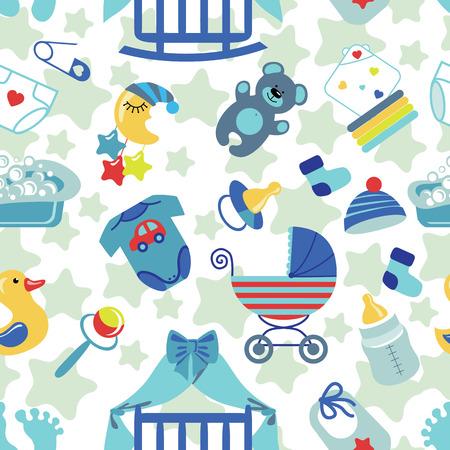 toes: Newborn Baby boy seamless pattern