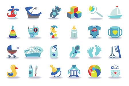 block of flats: Newborn Baby boy icons set.Baby shower kit