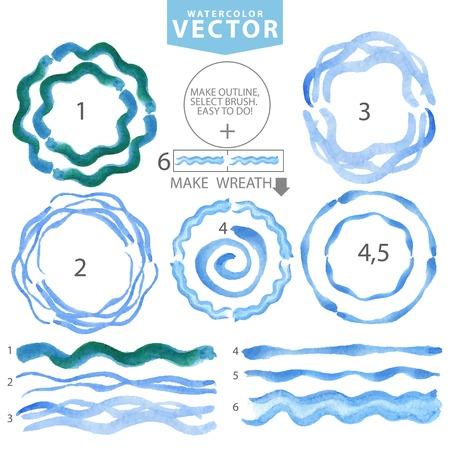 Watercolor wavy brushes,circle frame.Cyan,blue.Summer Illustration