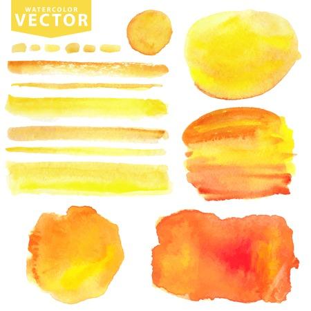 Aquarel vlekken, brushes.Orange, yellow.Summer zon Stock Illustratie