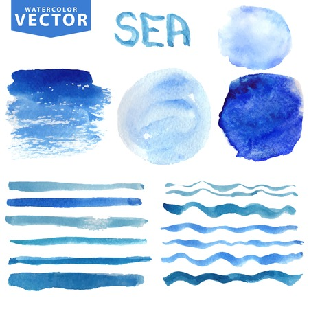 draw: Watercolor stains,brushes,waves.Blue ocean,sea.Summer set