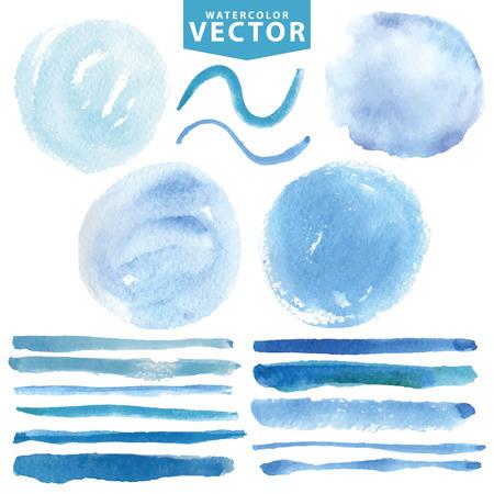 Watercolor vlekken, borstels .Blue oceaan, zee, sky.Summer Stock Illustratie