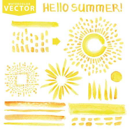 Aquarel lijn borstels, barsten, rays.Yellow.Hello Zomer