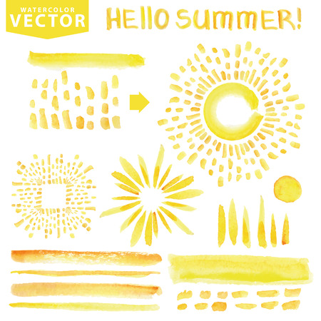 Watercolor line brushes,burst,rays.Yellow.Hello Summer