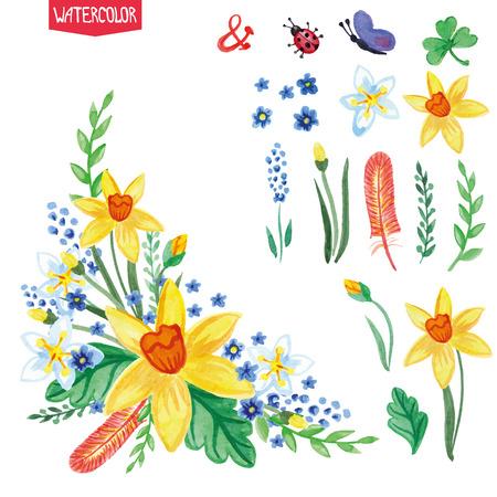 Aquarel bloemen, groene takken set.Spring, zomerboeket Stock Illustratie