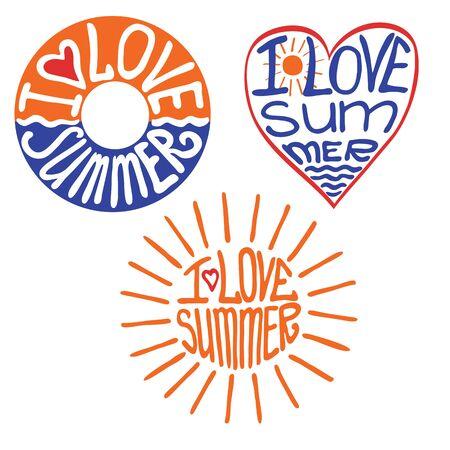 kiddie: Lifebuoy,heart,sun in words I love summer Illustration