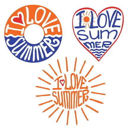 Lifebuoy,heart,sun in words I love summer Illustration