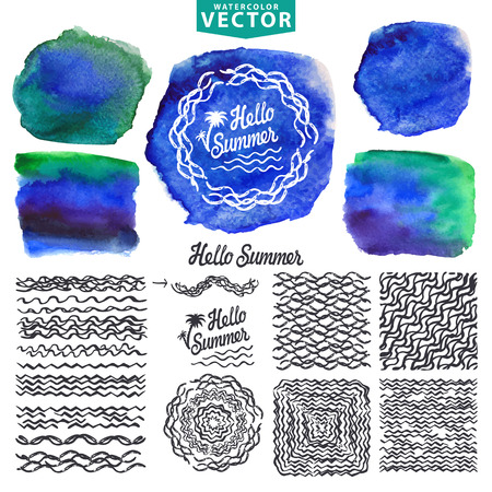 wave hello: Hello Summer watercolor  design template.Sea,wave Illustration
