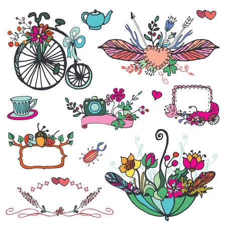 vintage element: Doodle floral group,hand sketched vintage element set