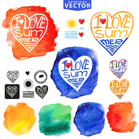 Abstract wtercolor Summer typography heart design template Vector