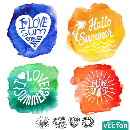 Abstract wtercolor card,background.Summer design,  Vector