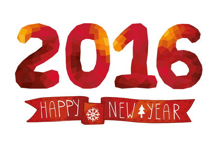 2016 New year card,background.Red Polygons figures,ribbon Vector