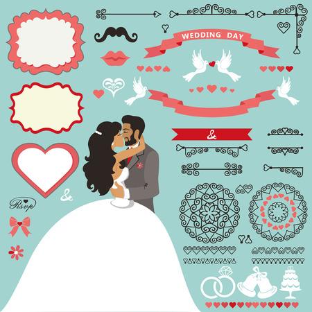 kissing: Wedding invitation decor set with Kissing  couple.eps