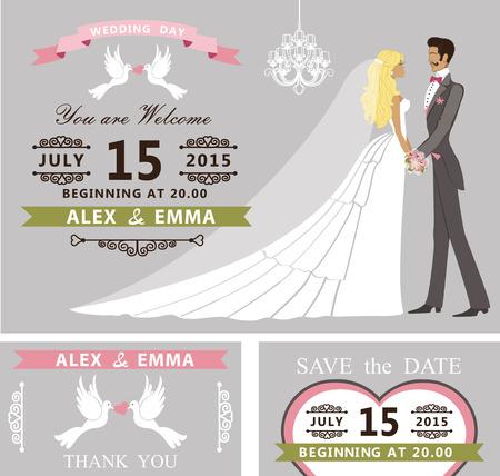 frock coat: Wedding invitation set. Cartoon bride and groom,chandelier
