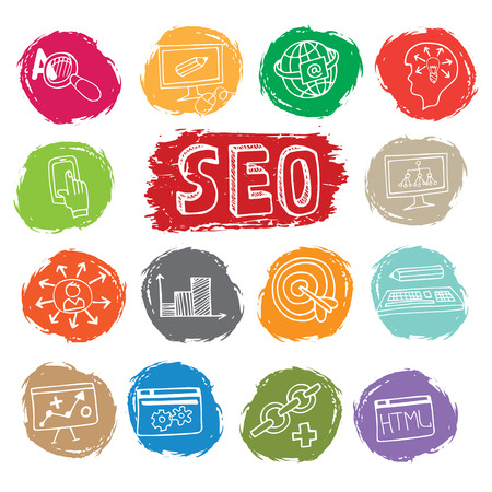 drow: Doodle business seo icons set on colored spot