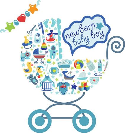 Pasgeboren baby jongen pictogrammen in de vorm van vervoer