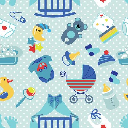 新生児赤ちゃん男の子シームレス パターン。水玉