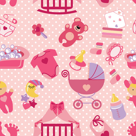 Newborn Baby girl seamless pattern.Polka dot Vettoriali