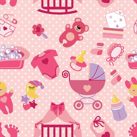 Newborn Baby girl seamless pattern.Polka dot Illustration