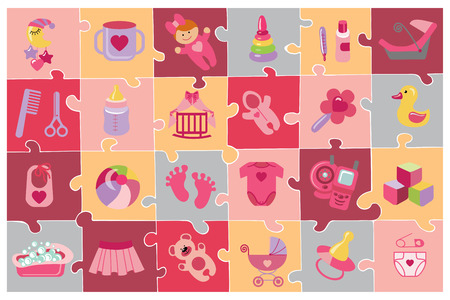 Newborn Baby girl icons set.Baby shower puzzle Vector
